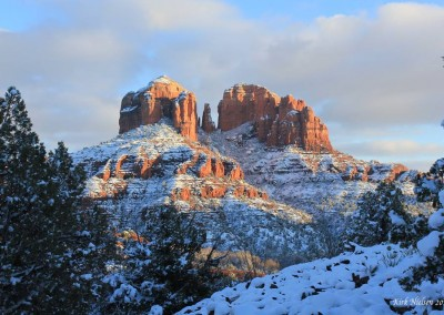 Snow covered Cathedral Rock