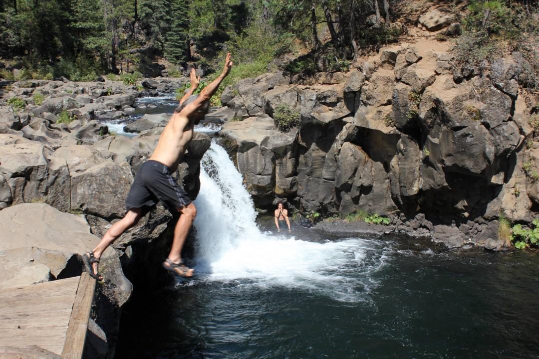 Kirk Jumping in Waterfall