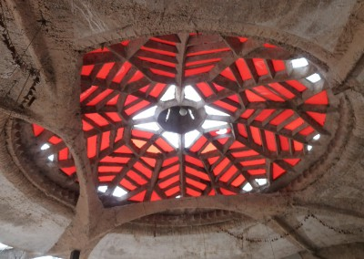 Arcosanti Red Stained Glass Ceiling