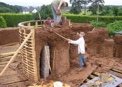 Cob House Construction Walls