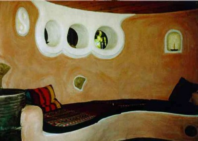 Cob House Interior Bench