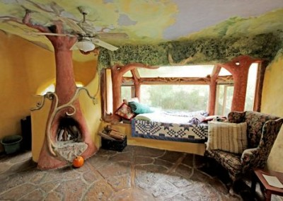Cob House Interior Window Seat