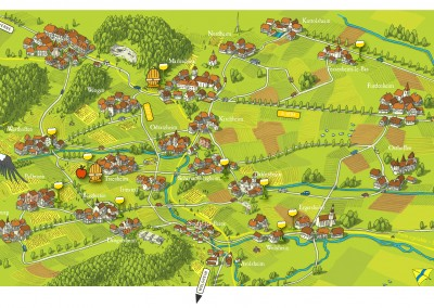 European Village Map of Alsace Wine Route Couronned Or
